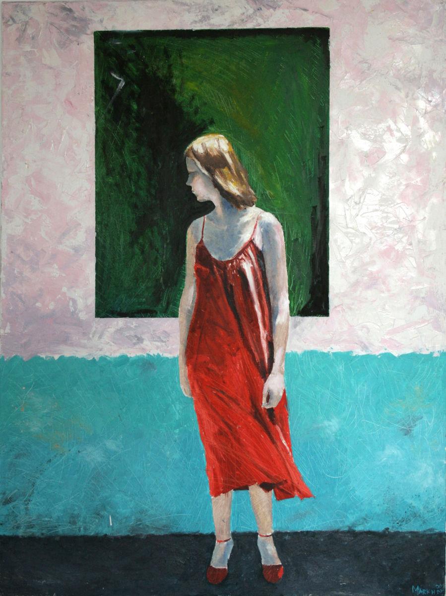 Girl in red dress 1982